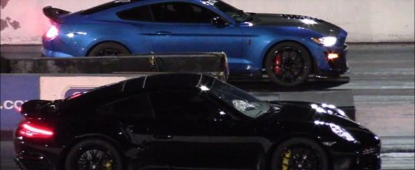 Porsche 911 Turbo S Drag Races Ford Shelby Mustang GT500, Both Run Nines