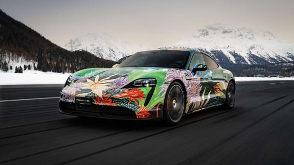 photo of Porsche commissions a vibrantly colorful Taycan 4S for a good cause image