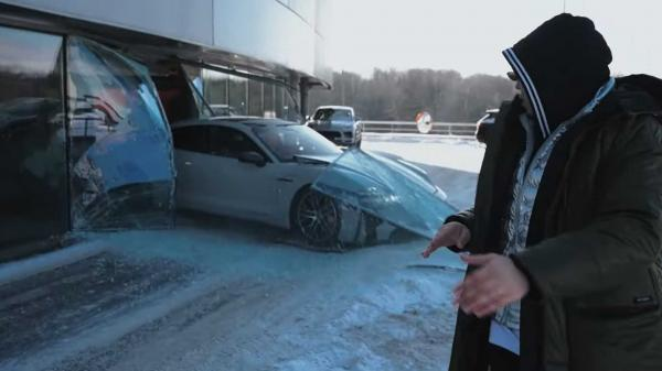 Porsche Taycan Smashes Dealership…