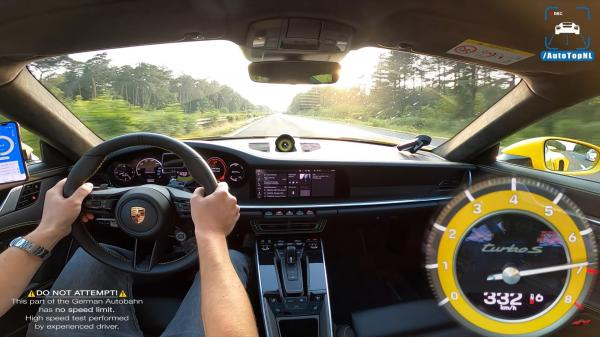 photo of Watch This 992 Porsche 911 Turbo S Hit 332 KPH Like It's Nothing image